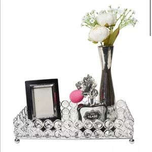 Eclipse crystal decorative mirrored tray